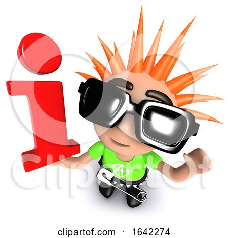 3d Punk Rocker Kid Character Holding an Information Symbol by Steve Young