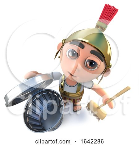 3d Roman Soldier Character Cleaning with a Broom and Trash Can by Steve Young