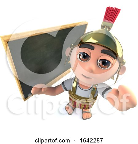 3d Roman Soldier Gladiator Standing in Front of Blackboard by Steve Young
