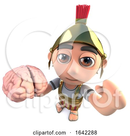 3d Roman Soldier Gladiator Holding a Human Brain by Steve Young