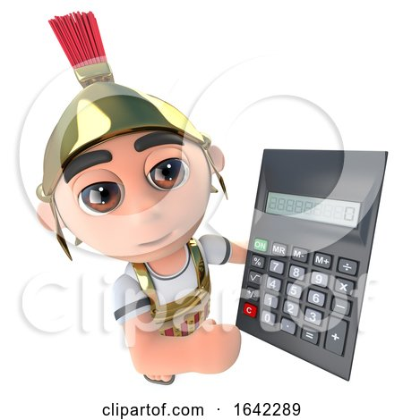 3d Roman Soldier Gladiator Holding a Calculator by Steve Young