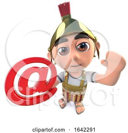 Funny 3d Cartoon Roman Gladiator Centurion Character Holding Email Symbol by Steve Young