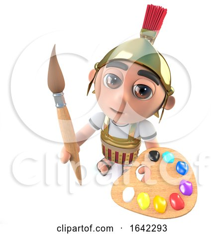 3d Roman Soldier Character Painting with a Paintbrush and Palette by Steve Young