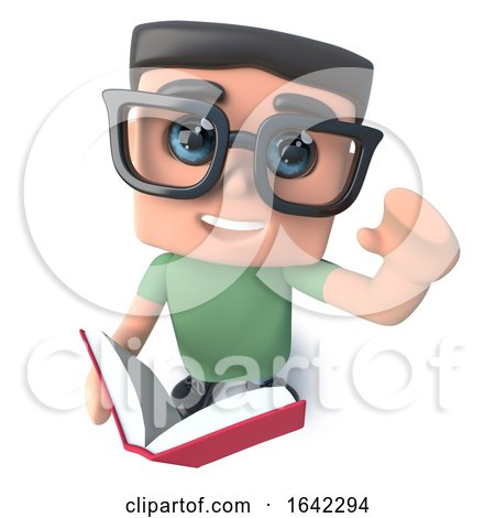 3d Geek Nerd Hacker Character Reading a Book by Steve Young