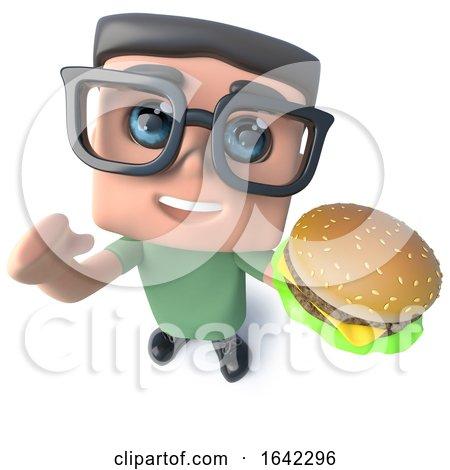 3d Geek Nerd Hacker Character Eating a Cheeseburger by Steve Young