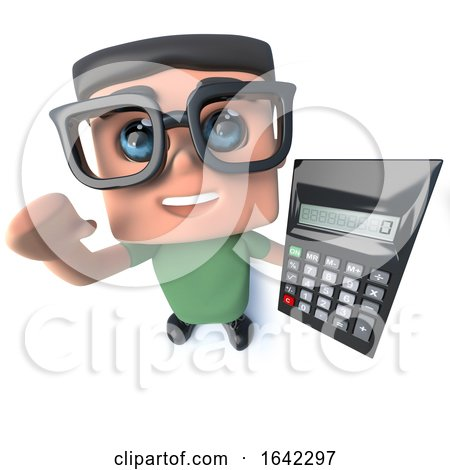 3d Nerd Geek Character Holding a Calculator by Steve Young
