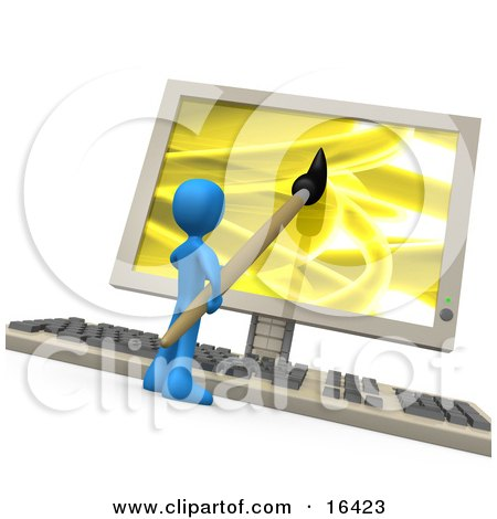 Blue Person Using A Paintbrush On A Flat Screen Computer Monitor To Create An Image, Or This Could Be A Designer Designing A Website Clipart Illustration Graphic by 3poD