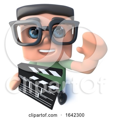 3d Nerd Geek Character Holding a Movie Making Clapperboard by Steve Young