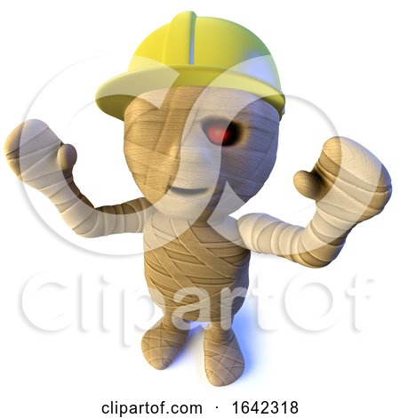 3d Halloween Egyptian Mummy Character Wearing a Construction Safety Hard Hat by Steve Young