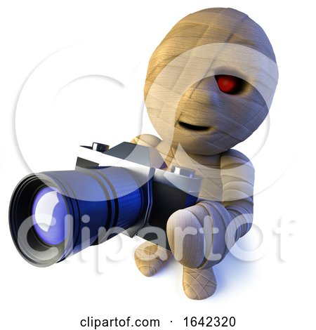 3d Egyptian Mummy Monster Character Holding a Camera by Steve Young
