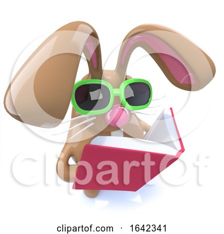 3d Cute Chocolate Easter Bunny Rabbit Reading a Book by Steve Young