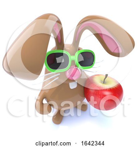 3d Cute Chocolate Easter Bunny Rabbit Holding an Apple by Steve Young