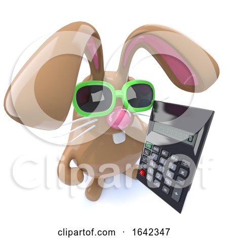 3d Cute Chocolate Easter Bunny Rabbit Holding a Calculator by Steve Young