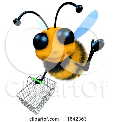 Funny 3d Cartoon Honey Bee Character Flying with a Shopping Basket by Steve Young