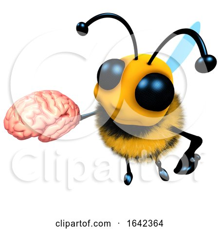 3d Funny Cartoon Honey Bee Character Holding a Human Brain by Steve Young