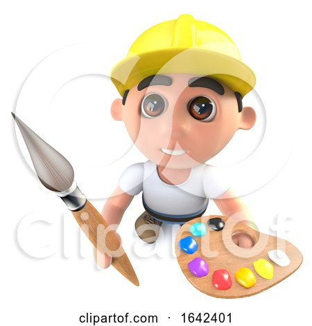 3d Builder Construction Worker Holding a Paint Brush and Palette by Steve Young
