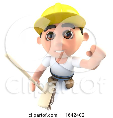 3d Builder Construction Worker Character Cleaning with a Broom Posters, Art Prints