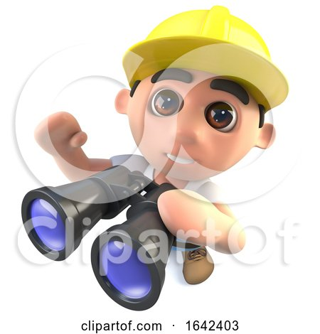 3d Builder Construction Worker Character with a Pair of Binoculars Posters, Art Prints