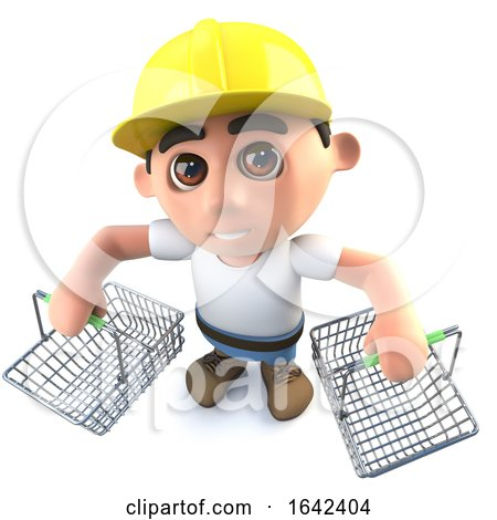 3d Builder Construction Worker Character Holding Shopping Baskets by Steve Young