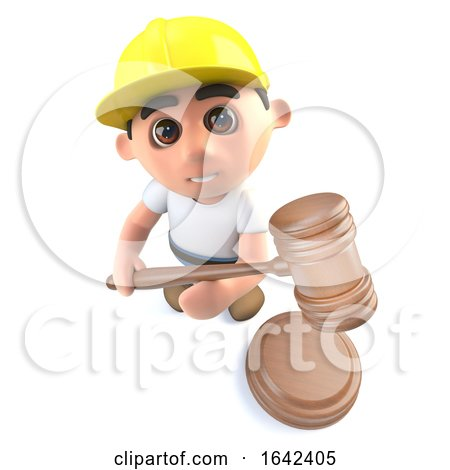 3d Builder Construction Worker Character Holding an Auction by Steve Young