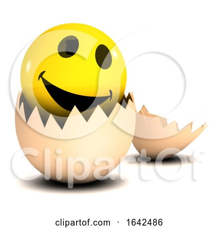 3d Smiley Character Hatching from an Egg Posters, Art Prints