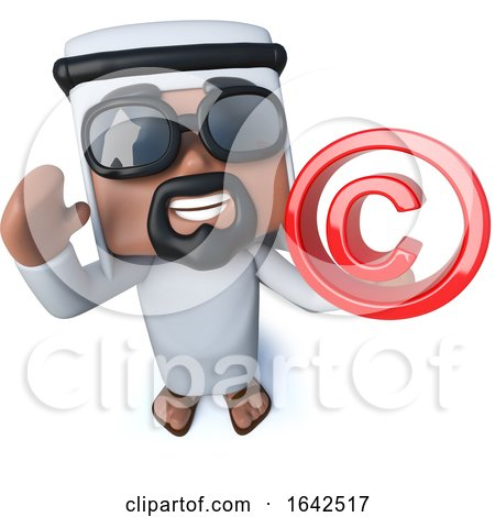 3d Arab Sheik Holding a Copyright Symbol by Steve Young
