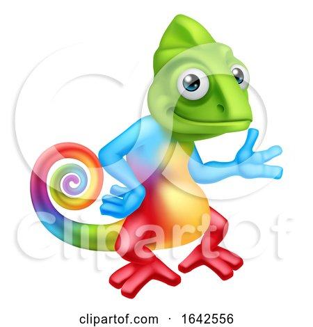 Chameleon Cartoon Lizard Character Standing by AtStockIllustration
