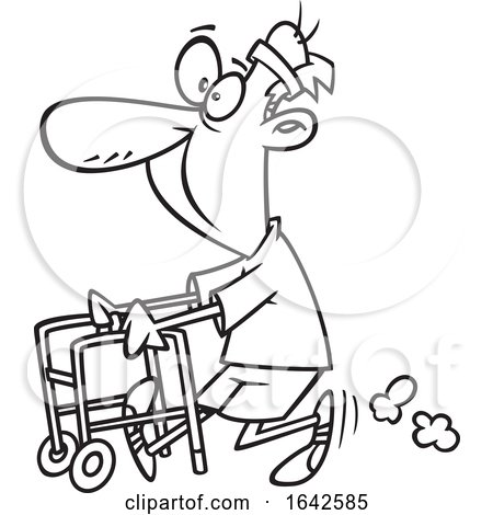 Cartoon Lineart Feisty Old Man Walking with a Walker by toonaday