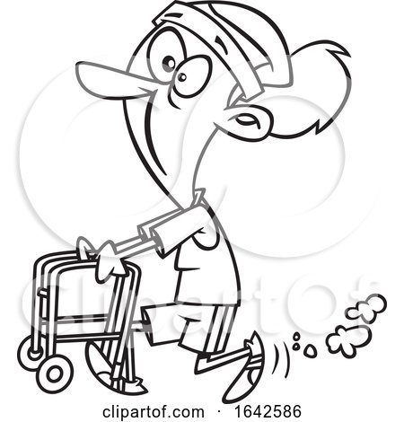 Cartoon Lineart Feisty Old Woman Walking with a Walker by toonaday