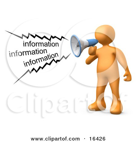 Orange Person Shouting Information Through a Megaphone Clipart Illustration Graphic by 3poD