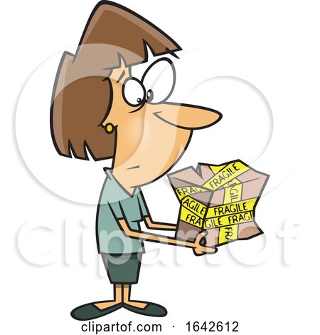 Cartoon White Woman Holding a Mangled Fragile Package by toonaday