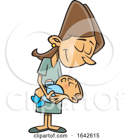 Cartoon Happy New White Mom Holding Her Baby by toonaday