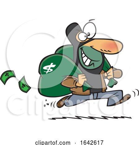 Cartoon Robber Running After a Bank Heist Posters, Art Prints