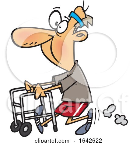 Cartoon Feisty Old Man Walking with a Walker by toonaday