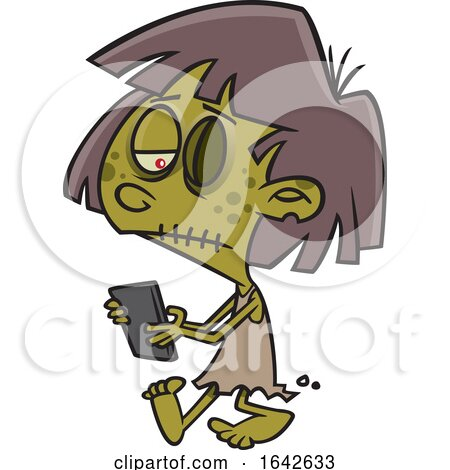 Cartoon Zombie Girl Texting by toonaday