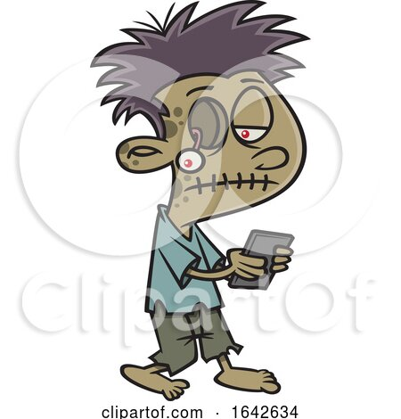 Cartoon Zombie Boy Texting by toonaday