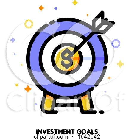 Icon of Dartboard with Arrow for Business Target or Investment Goals Concept by elena