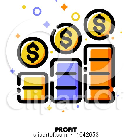 Icon of Income Growth Chart or Financial Report Graph for Mutual Fund or Pension Savings Account Concept by elena