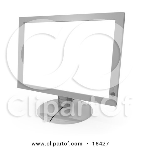 Silver Flat Screen Computer Monitor Screen  Posters, Art Prints