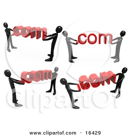 Black People Carrying Dot Com's Clipart Illustration Graphic by 3poD