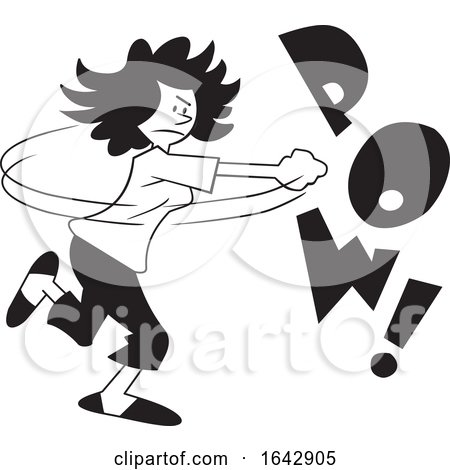 Cartoon Black and White Woman Fighting Back with POW Text by Johnny Sajem