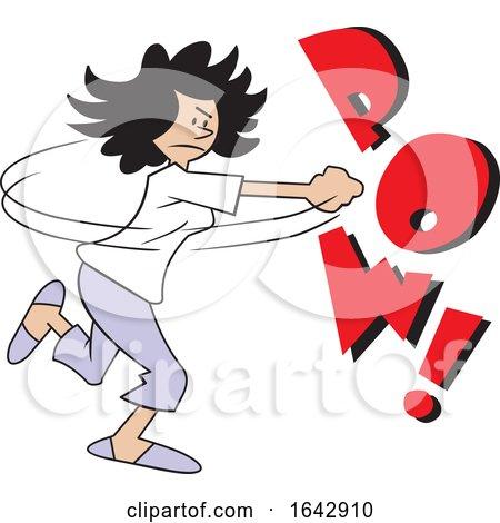 Cartoon Hispanic Woman Fighting Back with POW Text by Johnny Sajem