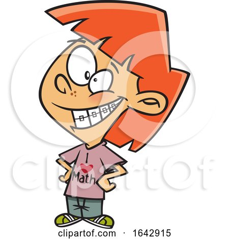 Cartoon Red Haired Girl with Braces Wearing a I Love Math Shirt by toonaday