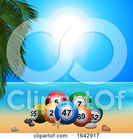 Summer Bingo Lottery Ballson on the Beach by elaineitalia