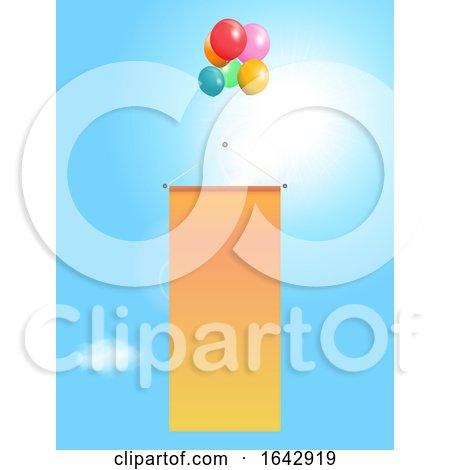 Flying Copy Space Banner with Balloons on Sunny Sky by elaineitalia