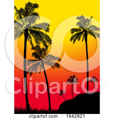 Abstract Summer Tropical Palm Trees Forest Silhouette by elaineitalia