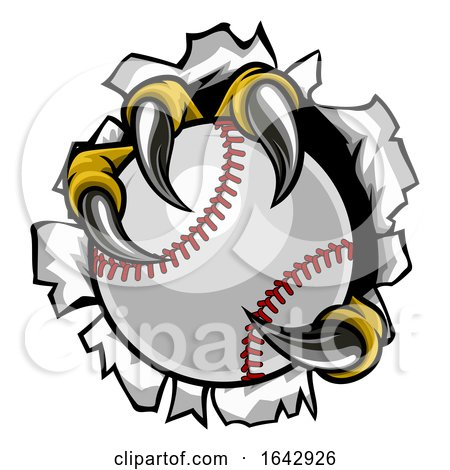 Baseball Ball Eagle Claw Talons Ripping Background by AtStockIllustration