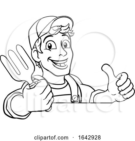 Gardener Garden Fork Tool Handyman Cartoon Man by AtStockIllustration