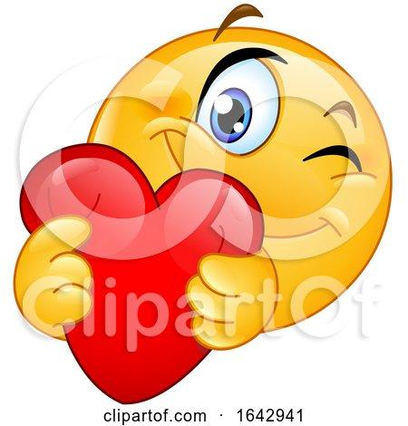 Cartoon Emoji Smiley Hugging a Love Heart by yayayoyo