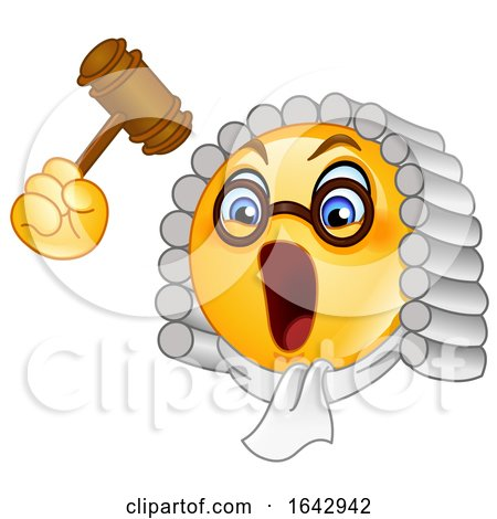 Cartoon Emoji Smiley Judge Banging a Gavel by yayayoyo